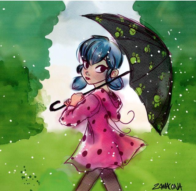 Mari walking through the rain by zamaconam