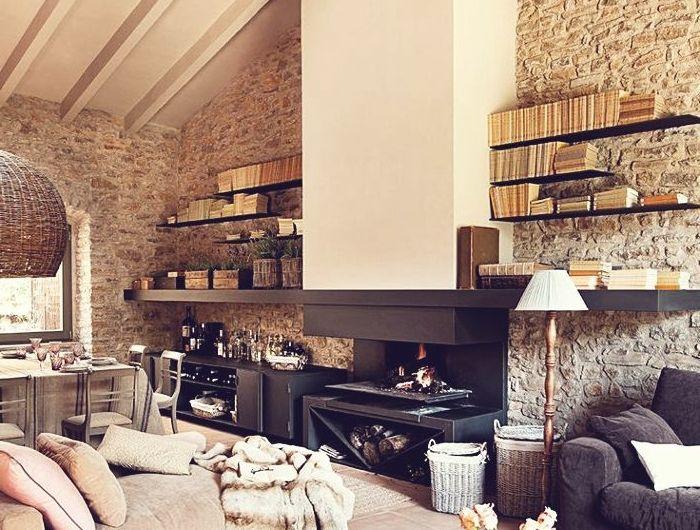 Le mur en pierre apparente en 57 photos!   Décoration salon moderne, Déco maison et Briquette de ...
