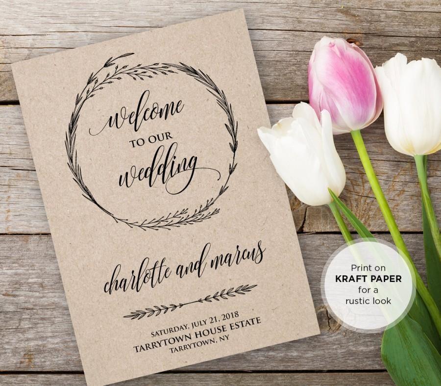 Wedding Program Template Instant Download Editable Text