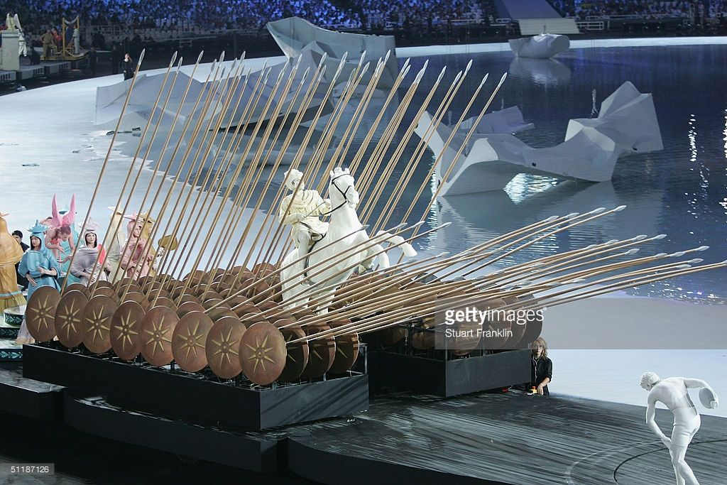 An artist symbolising Alexander the Great performs during the opening ceremony of the Athens 2004 Olympic Games August 13, 2004. A spectacular opening ceremony launched the Athens Olympics on Friday, lifting spirits in the Games' ancient birthplace after the host nation was rocked by a drugs drama involving its two top sprinters. [Reuters]photo via getty images