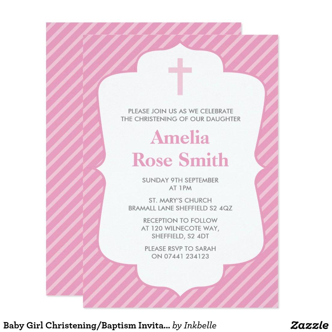 Baby Girl Christening/Baptism Invitation | Baptism invitations
