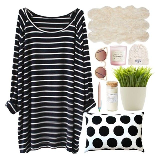 """""""=^,^="""" by skyler1213 ❤ liked on Polyvore featuring Pillow Decor, Kikkerland, H&M, Ralph Lauren, Vans and Quay"""