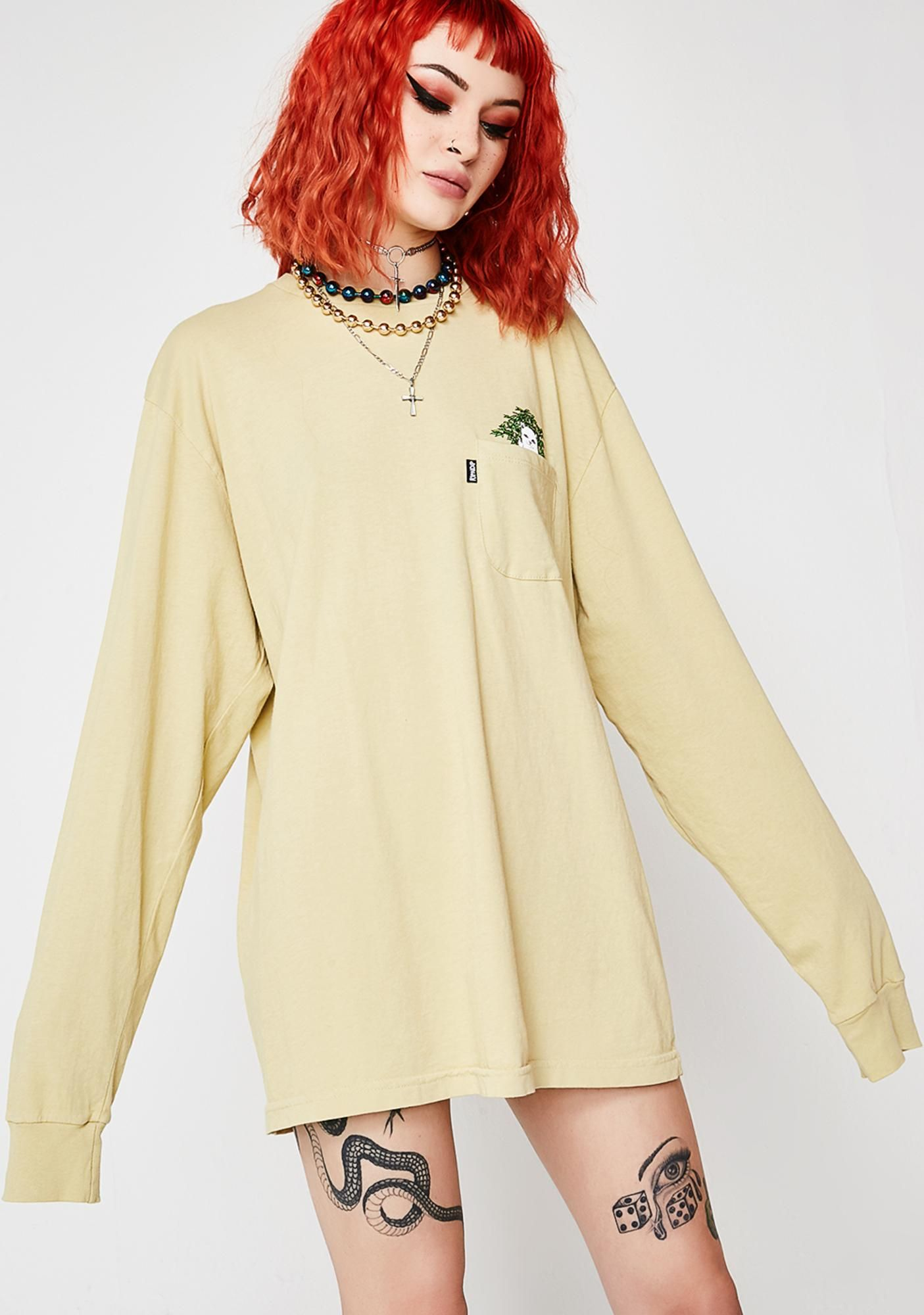 RIPNDIP Catnip Long Sleeve cuz ya do what ya want. Get stoney in this dope long sleeve shirt that has a sikk graphic of lord nermal chillin' with Mary Jane in the front pocket.. #dollskill #ripndip #newarrivals #nermalthecat