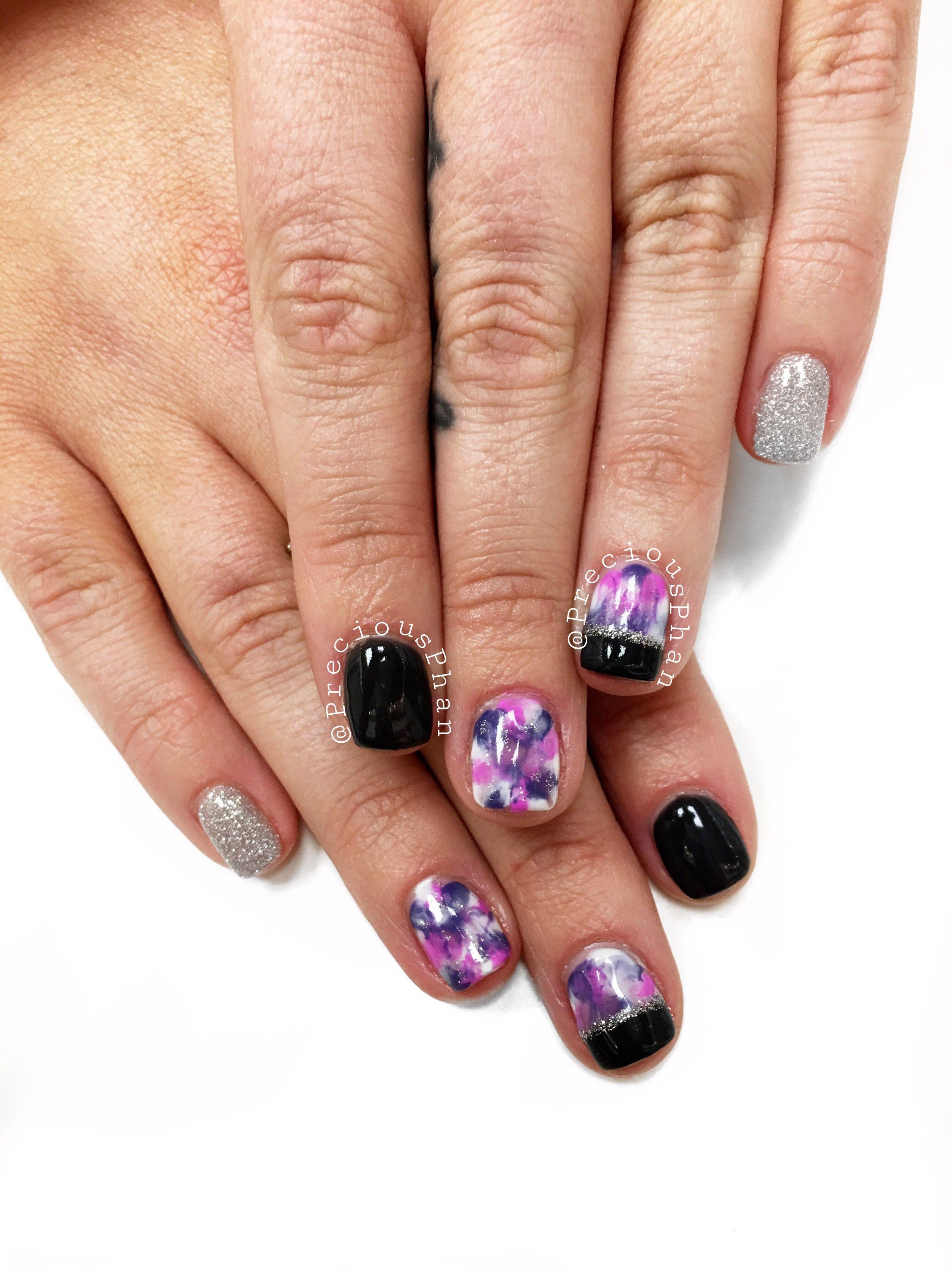 Polish change for this girl. Smoosh nails. Dark grey nails ...