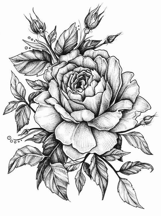 Черно белый эскиз тату с цветами