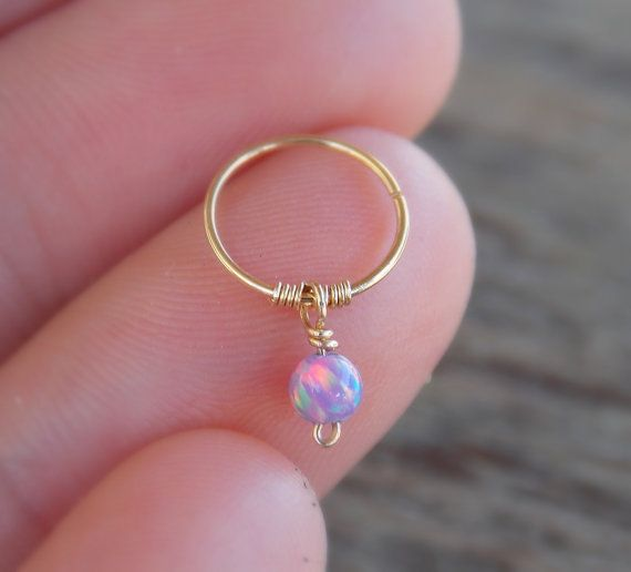 Tiny Cartilage Earring Gold Opal Hoop Helix Ring