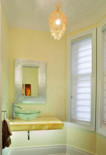 Light Yellow Bathroom With Yellow Marble Vanity (Benjamin Moore,  Hepplewhite Ivory)