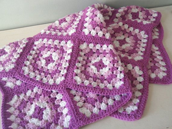 Granny Squares Crochet Knit Baby Blanket / Doll by TheLuckyFox ...