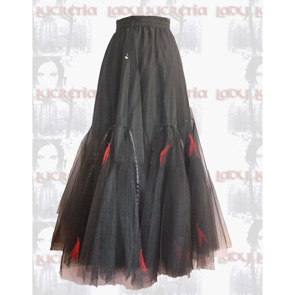 Avalon Skirt long netted tulle gothic skirt  - Polyvore