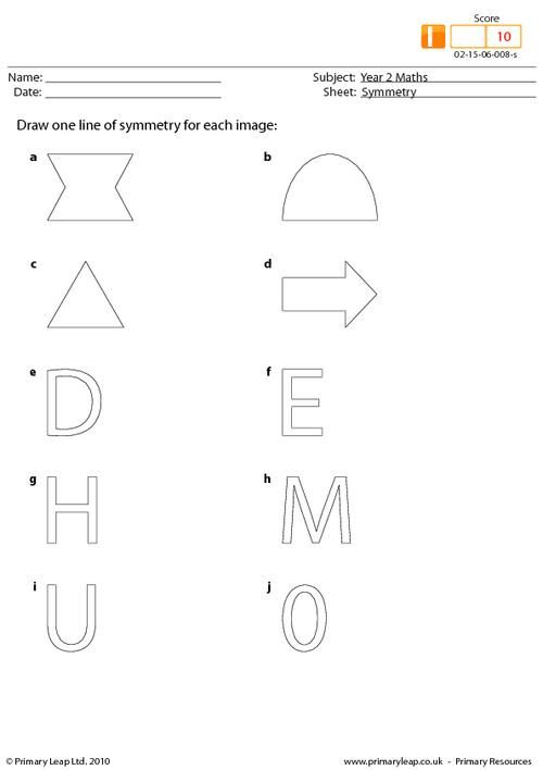 Symmetry This Activity Asks Children To Draw One Line Of Symmetry For Each Shape Symmetry Worksheets Symmetry Childrens Worksheets
