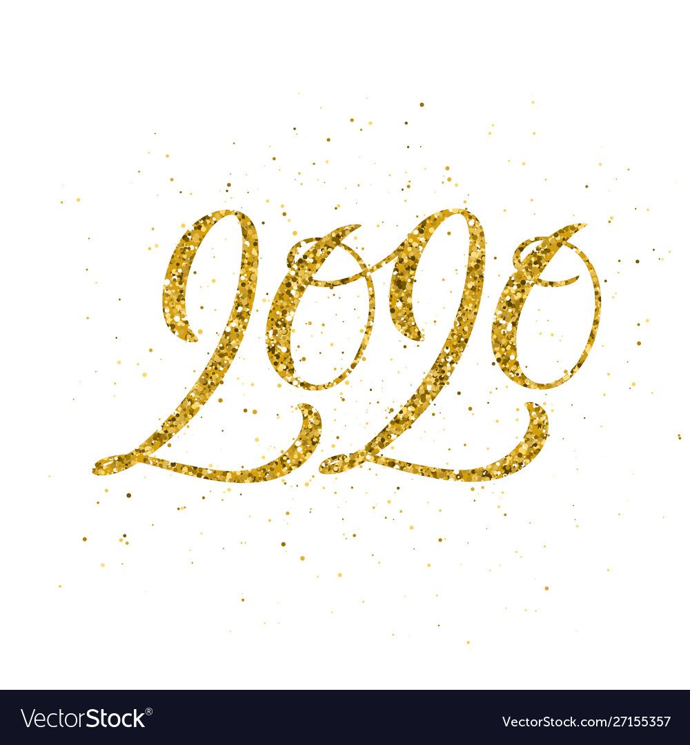 Happy new year 2020 poster with hand drawn Vector Image