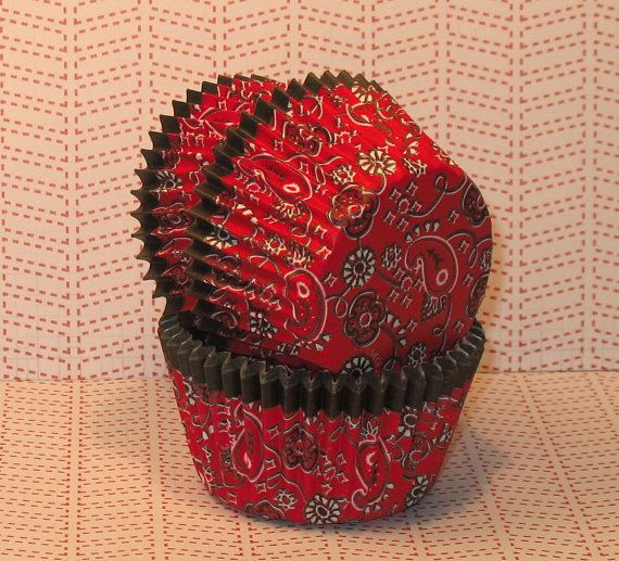 Western Red Bandana Heavy Duty Cupcake Liners Qty 32 Red Cupcake