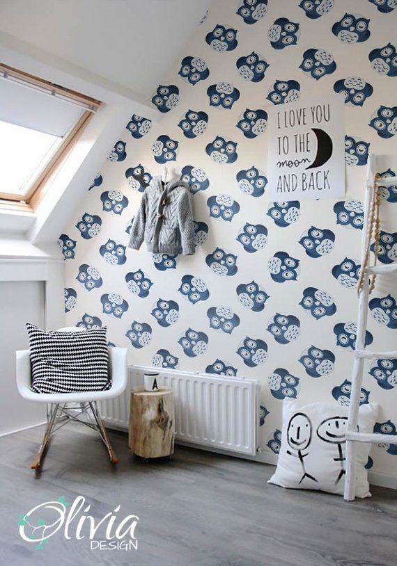 Self adhesive wallpaper PEEL and STICK kids room Owl