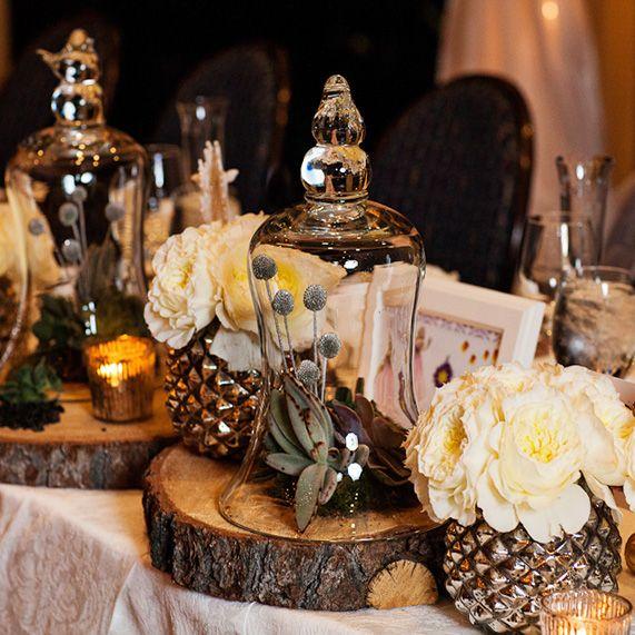 Romantic Wedding Centerpieces: Rustic, Romantic Winter Wedding Decor #wedding #wood