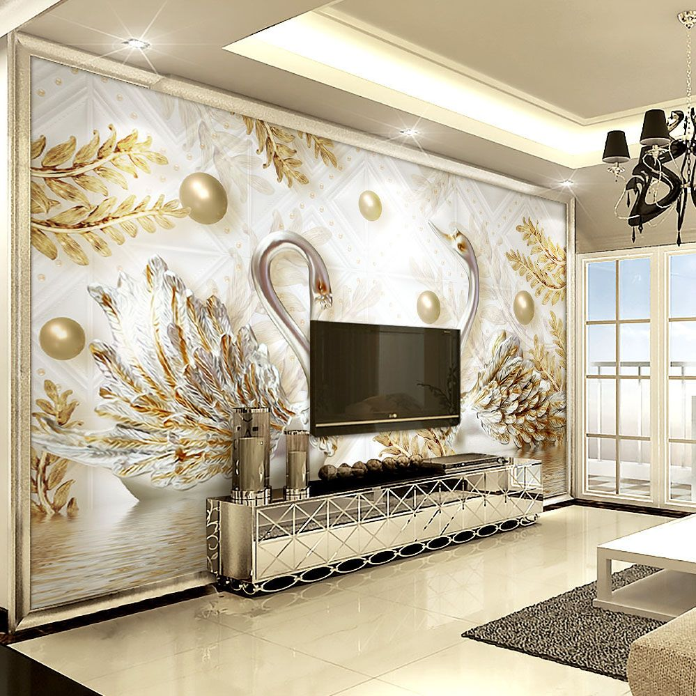 Best Luxury Wallpaper Jewelry Swan Wall Mural Custom 3D 400 x 300