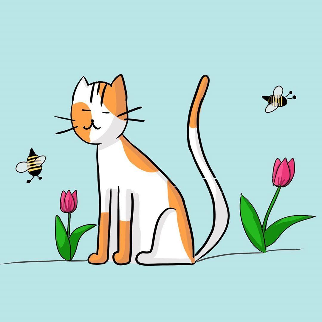 Cats Cat Catart Procreate Cartoon Cartooncats Bee Tulips Flowers Drawing Blue Cutecats Catdrawing Happy Cat Art Flower Drawing Cartoon Cat