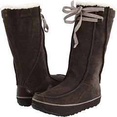 Cute AND warm. Waterproof suede keeps the snow off! I want!