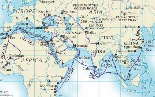 Route map of Ibn Battuta\'s travels, detail from map in World History ...