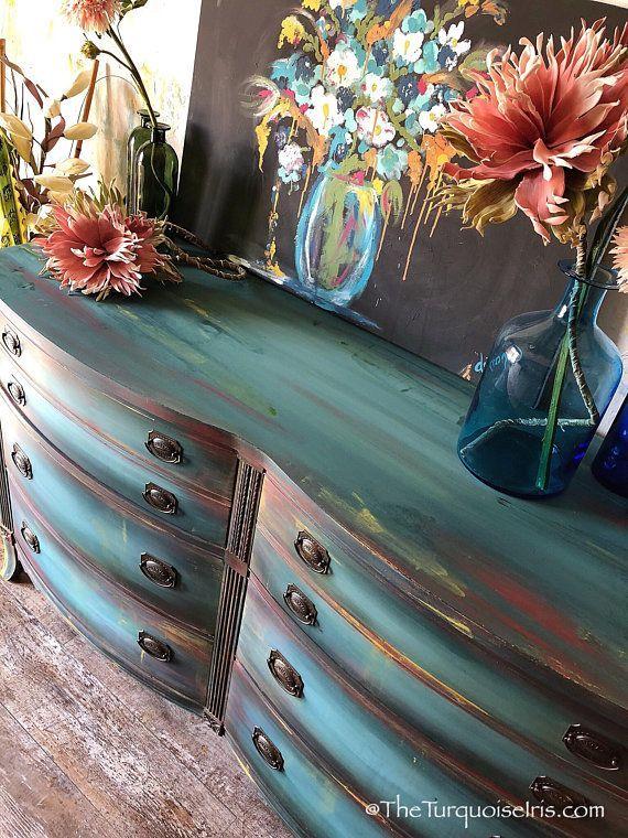 Gorgeous Bohemian Blue Dresser - Buffet - Unicorn Spit -