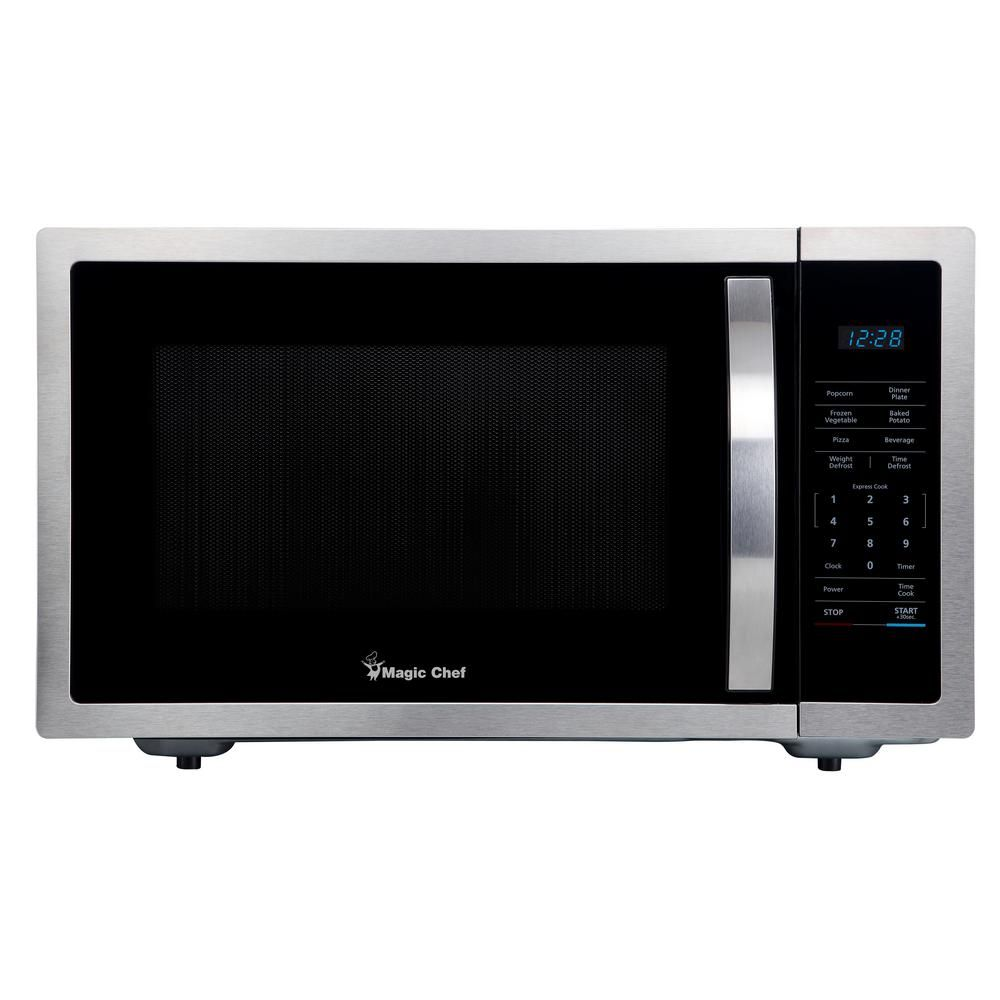Magic Chef 1 6 Cu Ft Countertop Microwave In Stainless Steel With Gray Cavity Hmm1611st2 Magic Chef Stainless Steel Countertops Countertops