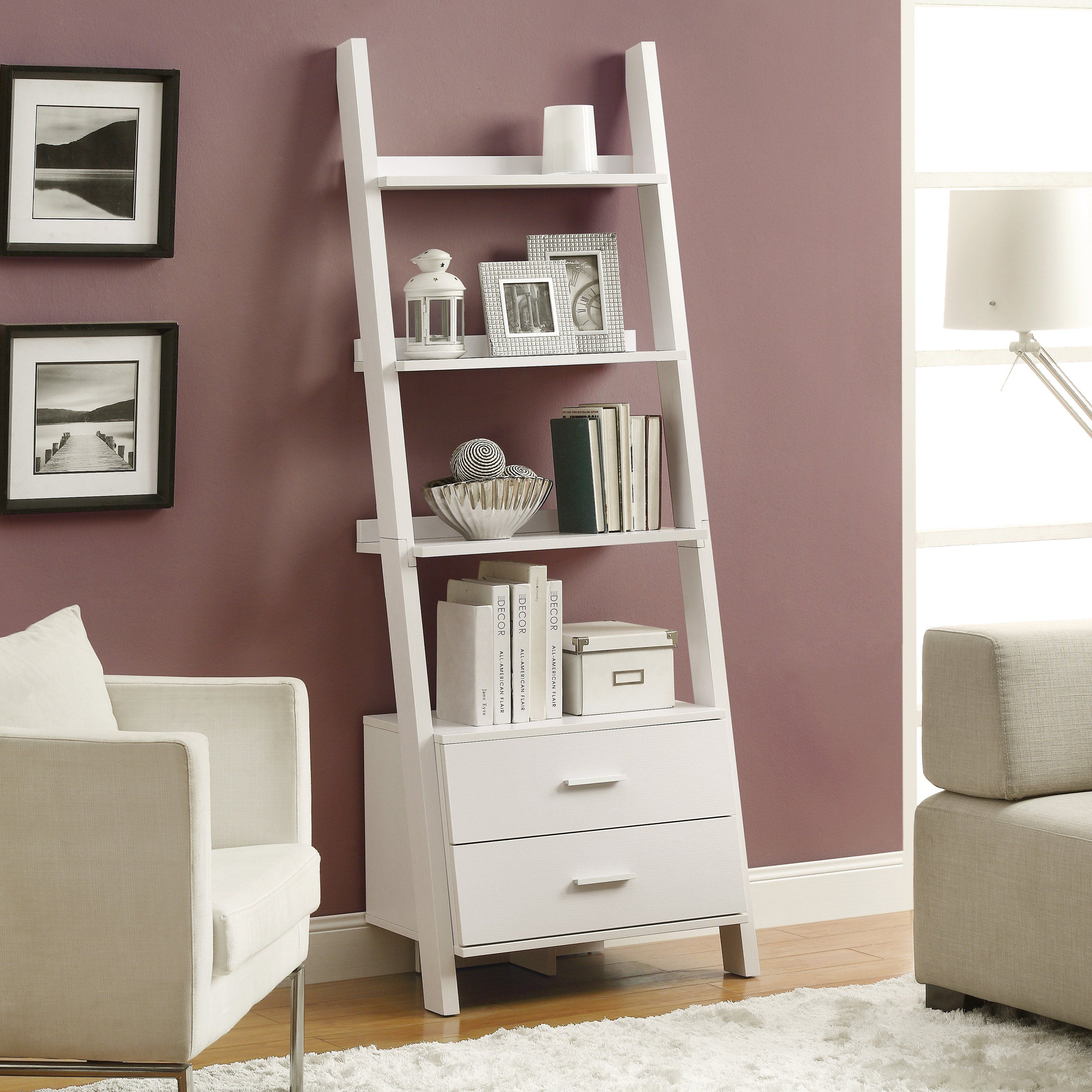 Monarch in ladder bookcase with storage drawers white i