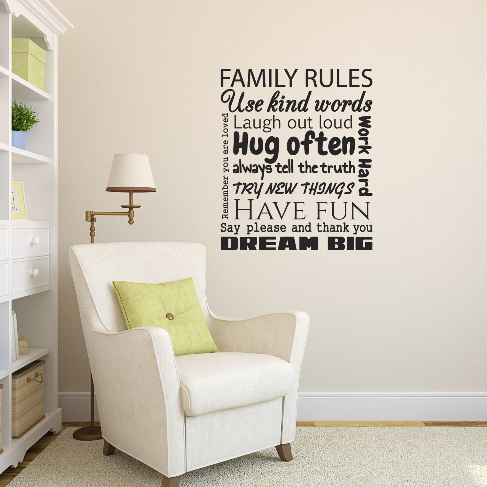 family rules wall sticker living room background wall on wall stickers for living room id=27022