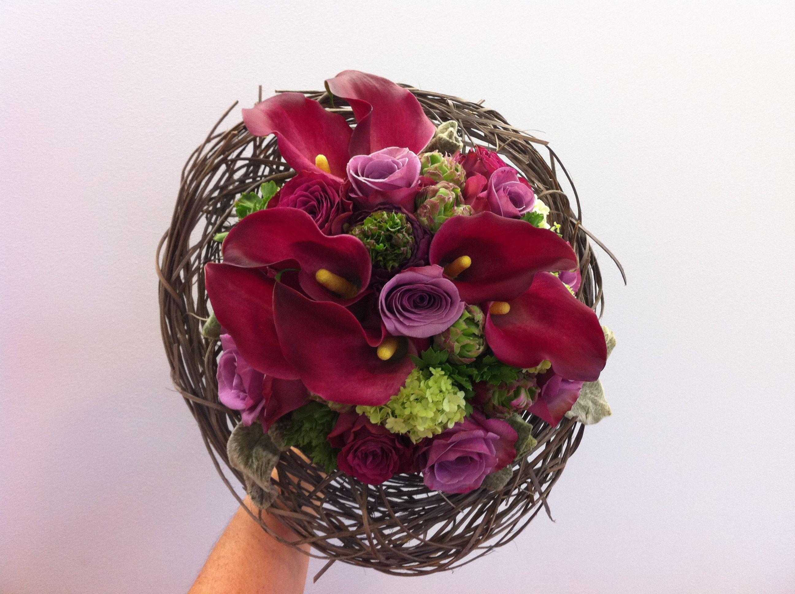 bruidsboeket - rozen, aronskelk, sneeuwbal falenopsis boechout