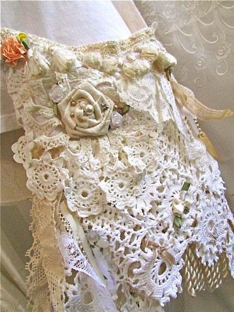Victorian Cottage Bag, shabby and chic, white creme ivory wedding ...