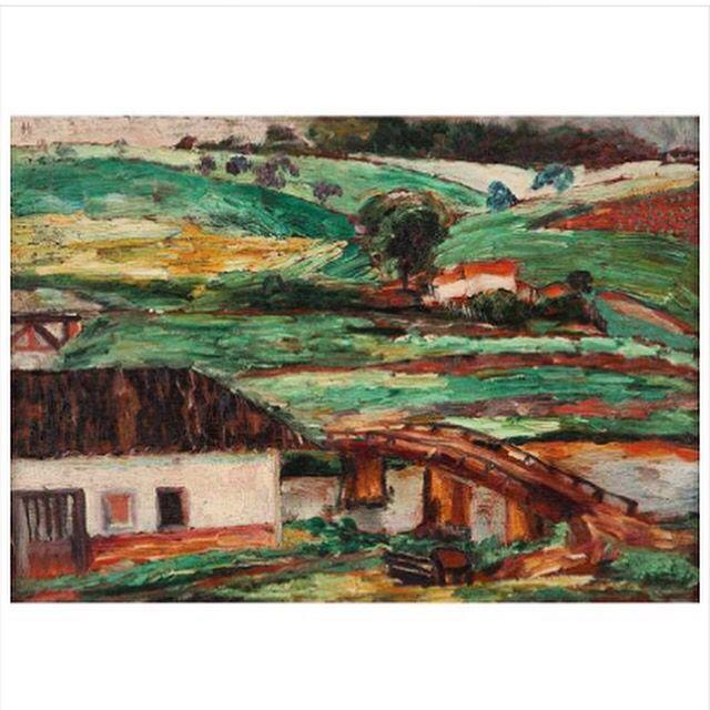Anita Malfatti Paisagem Com Casa A Beira Rio Osm 25 X 34 5 Cm