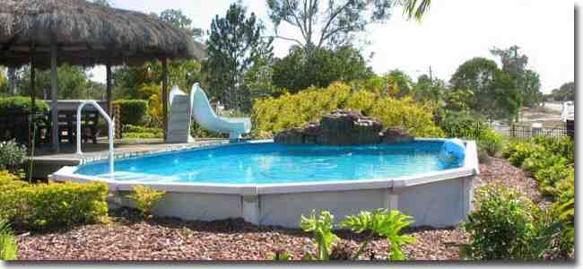 Above ground pool dropped in ground curb appeal above - Above ground pool bar ...