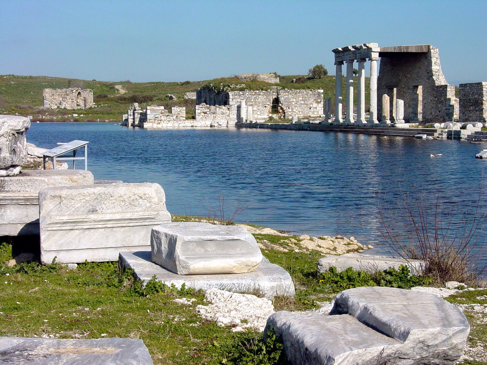 The flooding of the South Agora On the right (south) is the Ionic Stoa