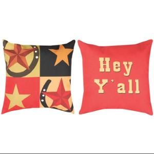 "20"" Reversible Star ""Hey Y'all"" Square Throw Pillow"
