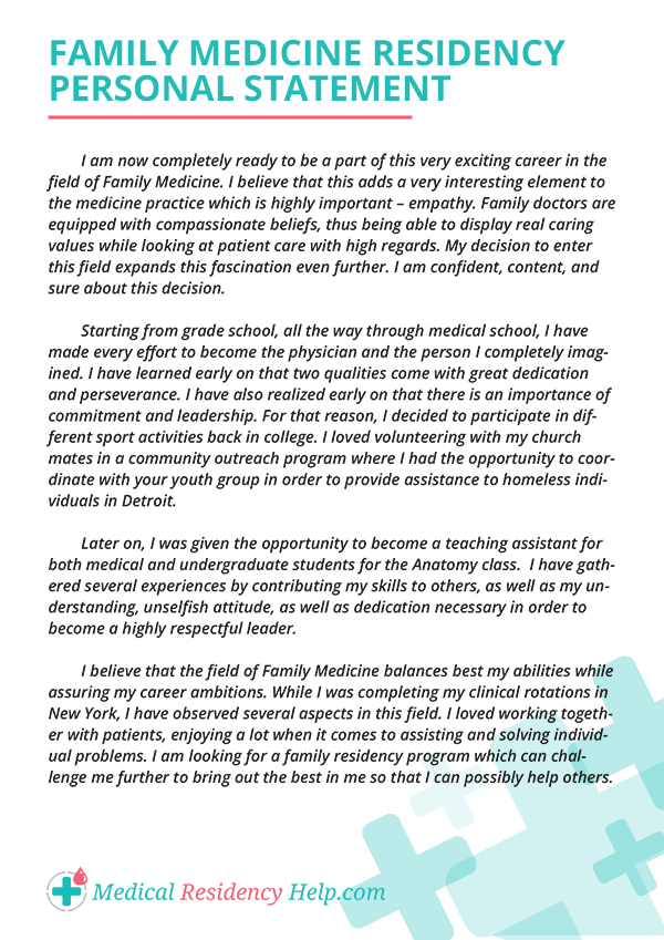 Family Medicine Residency Personal Statement Sample Which Will Put