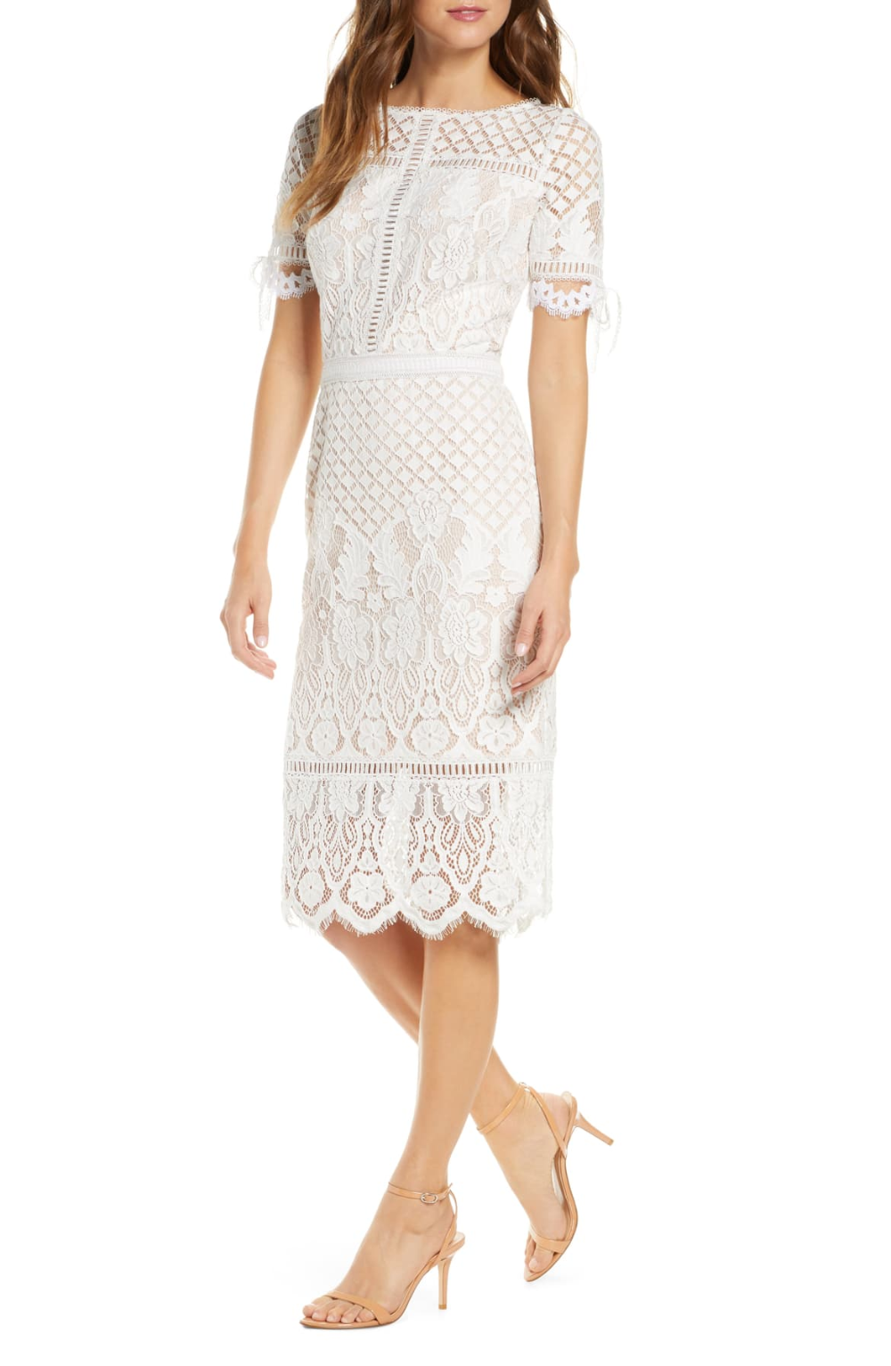 Tadashi Shoji Tie Sleeve Lace Sheath Dress In 2020 Nordstrom Dresses Dresses Prom Dresses With Sleeves [ 1533 x 1000 Pixel ]