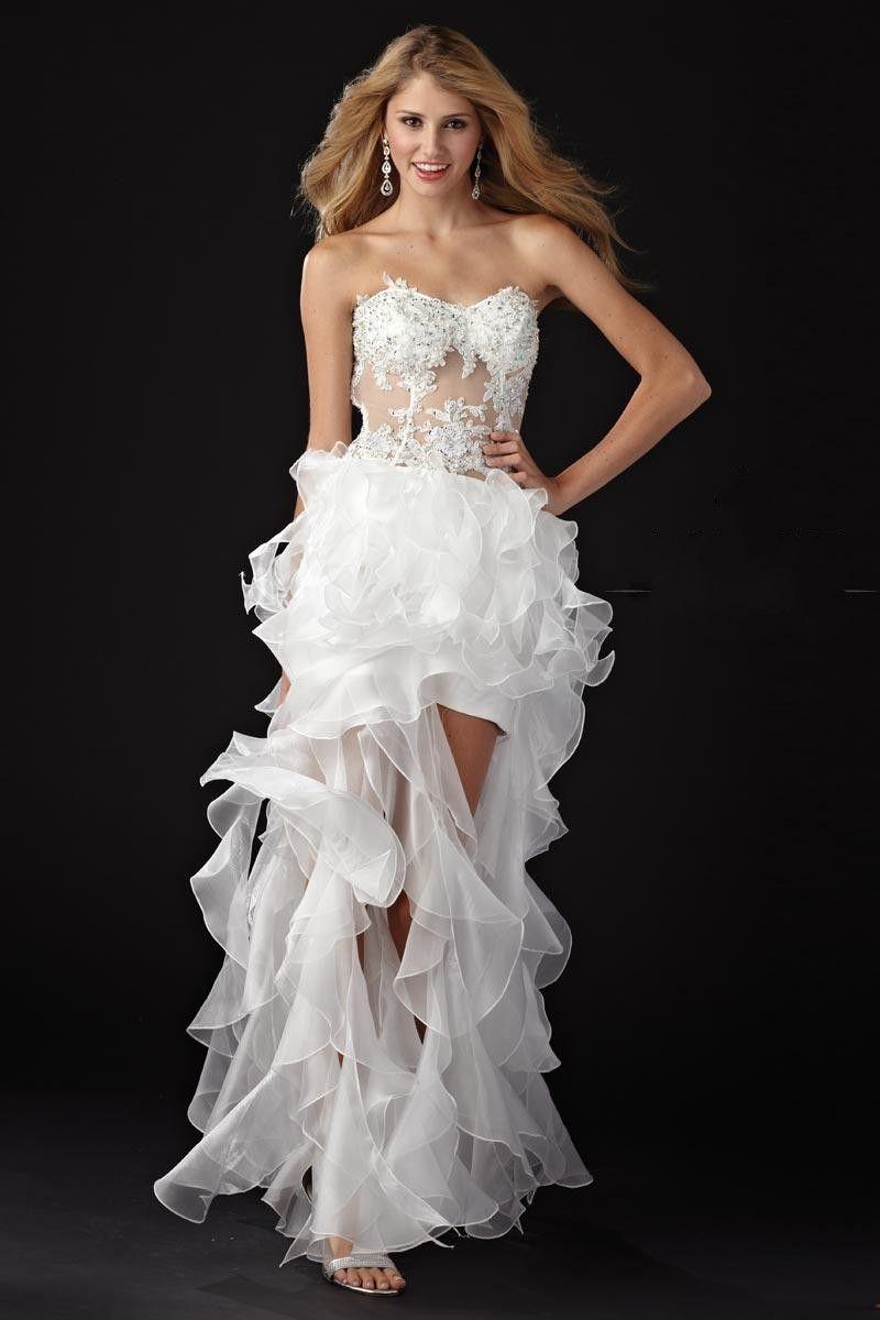 SEXY WHITE DRESS | Hot Sale Asymmetrical Slit Strapless ...