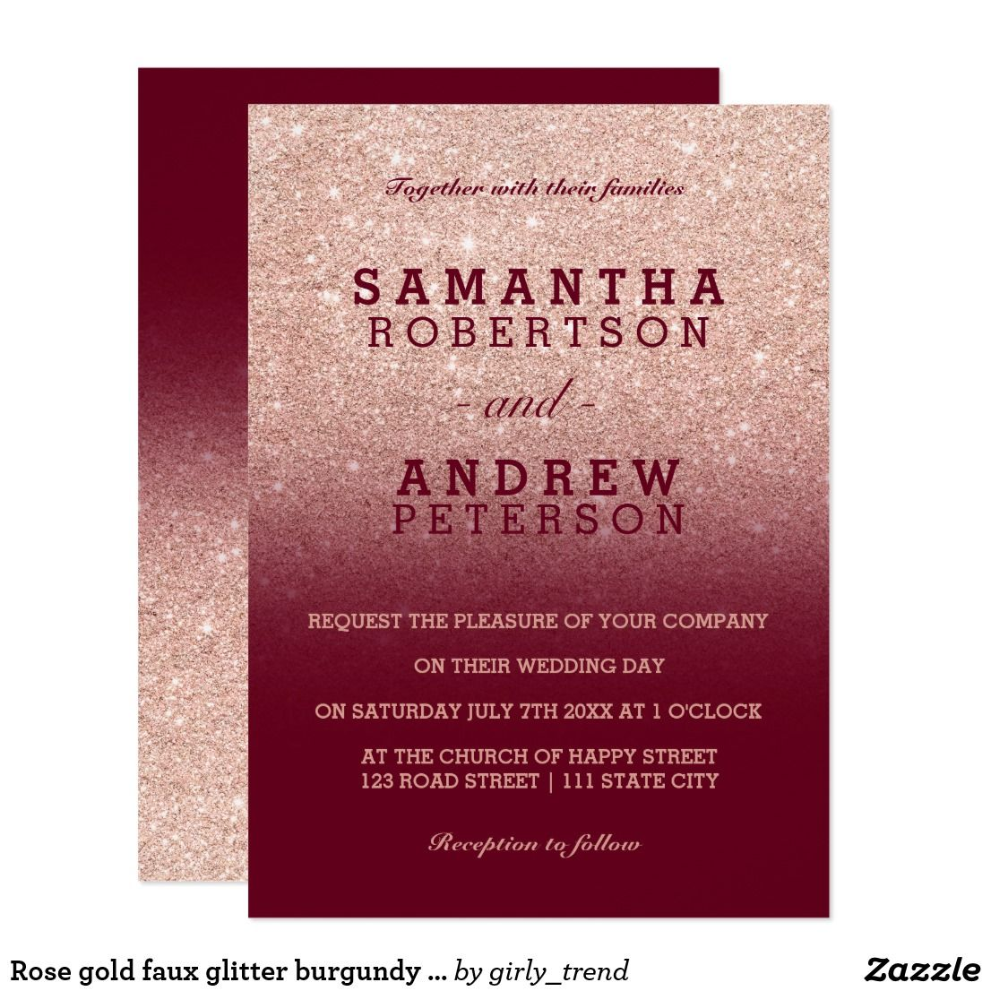 Rose gold faux glitter burgundy ombre wedding card   Rose gold ...