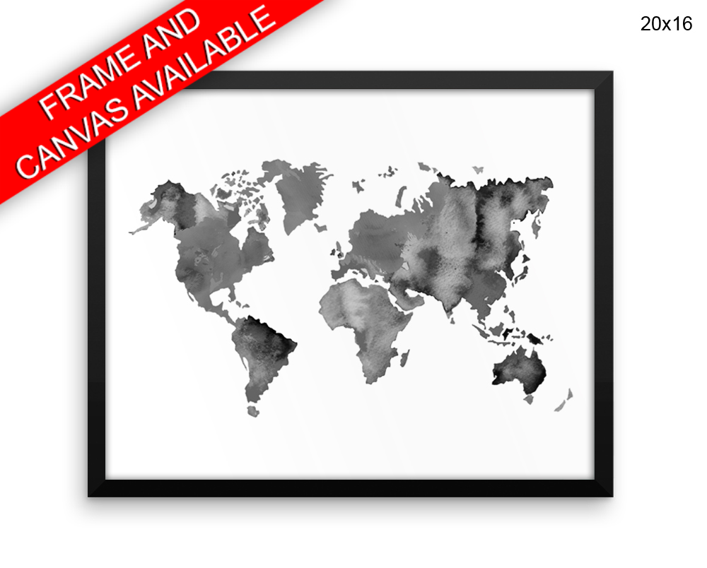 Black And White World Map Framed.World Map Canvas Art World Map Printed World Map Framed Art World