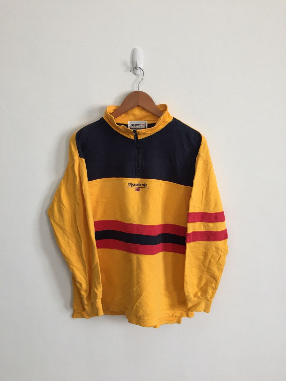 2fac18966 Vintage 90s REEBOK CLASSIC Pullover Half Zipper Sweatshirt Sweater armpit  22
