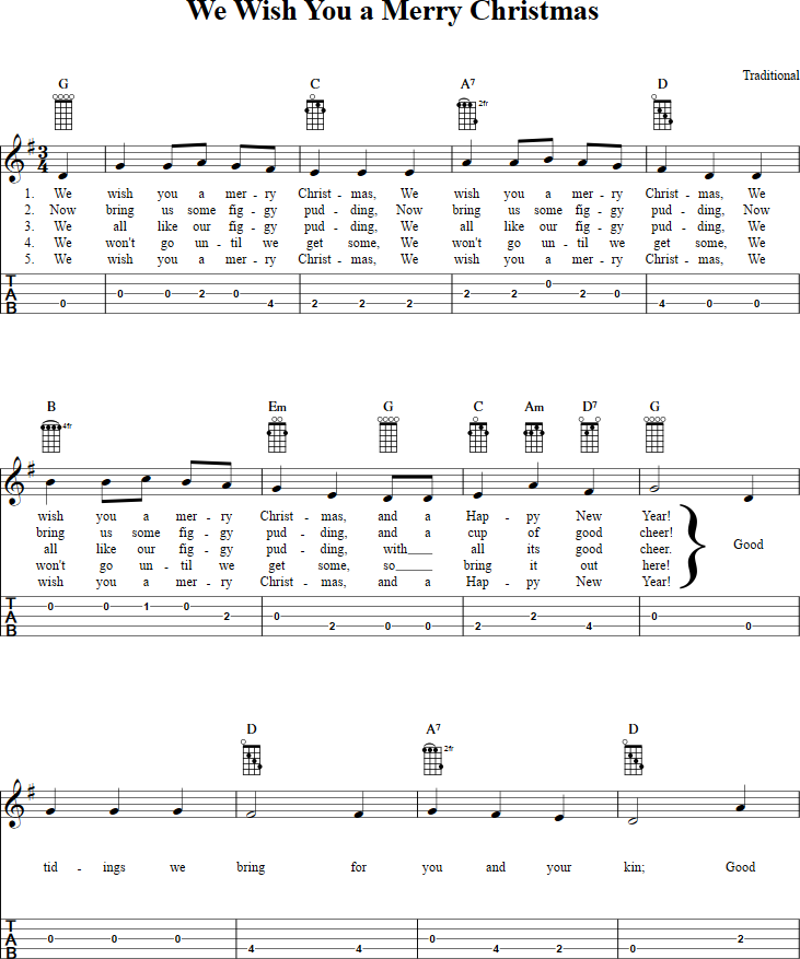 We Wish You A Merry Christmas Banjo Tab Page 1 View The Whole Song