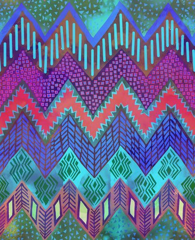 tribal chevron aqua art print by schatzibrown patterns textures pinterest muster. Black Bedroom Furniture Sets. Home Design Ideas