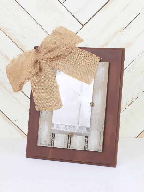 Hand-Painted Wooden Frame with Burlap Bow - Gifts/Home Decor ...
