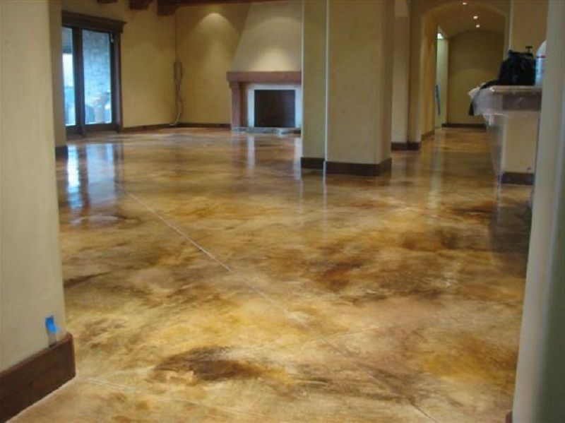 how to clean concrete basement floor before staining