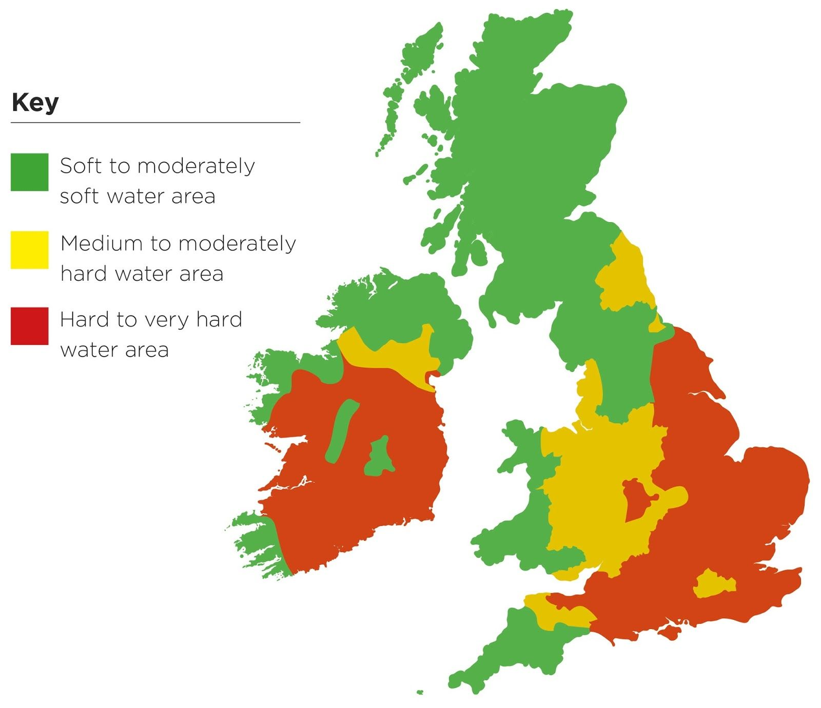 Water hardness in the UK & Ireland England map, Water