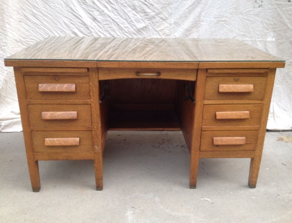 Beautiful Mission Oak Desk Typewriter Double Pedestal Full Glass Top  RY09