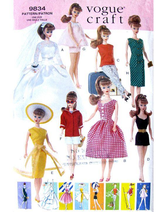 Vogue 9834 Vintage Barbie Doll Clothes Pattern UNCUT Original OOP 11 ...