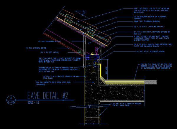 Ridge eave parapet details cad library autocad for Autocad landscape architecture