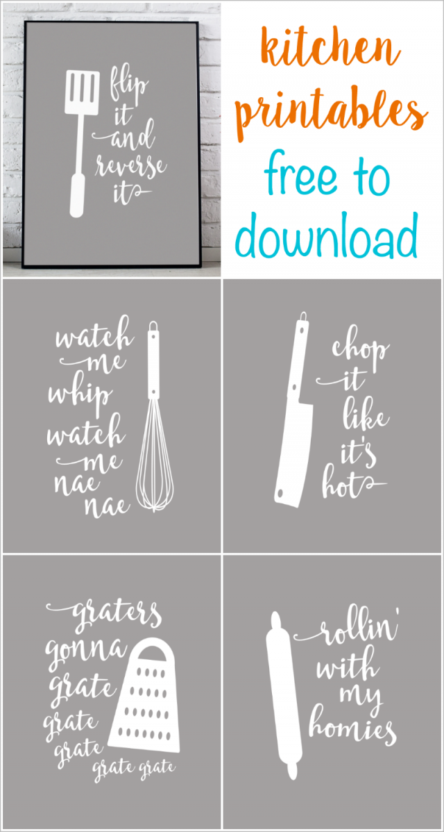 kitchen printables - lyric puns - free to download. kitchen decor