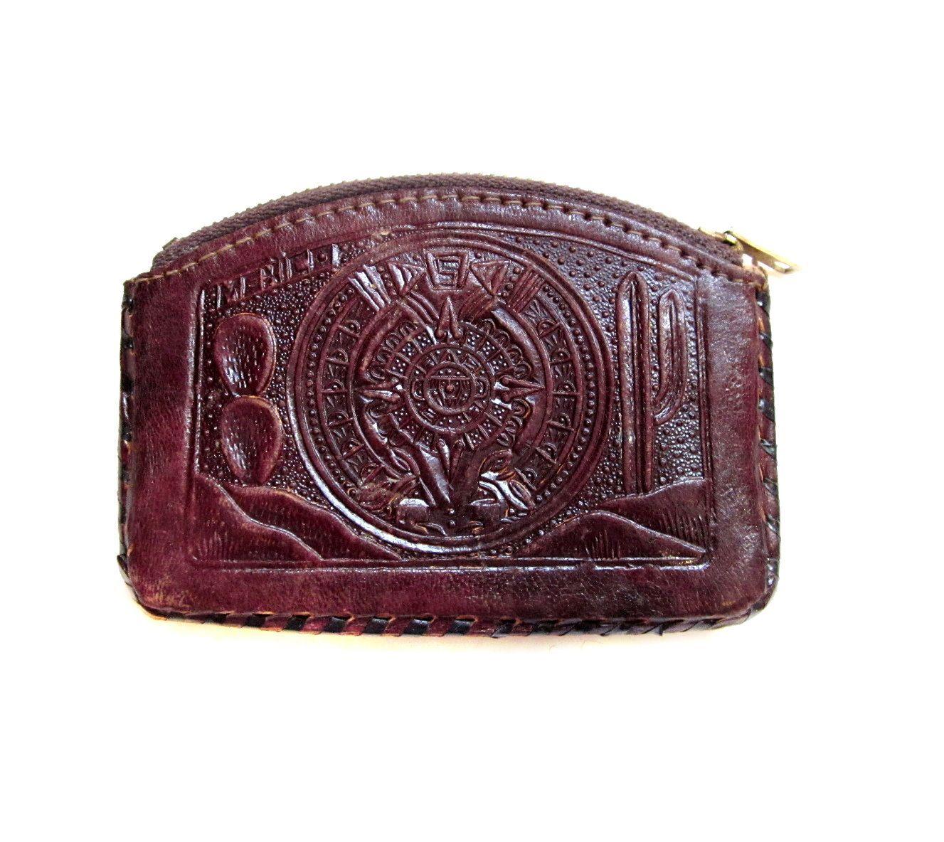Ladie/'s Tooled Leather Wallet Dia Los Muertos