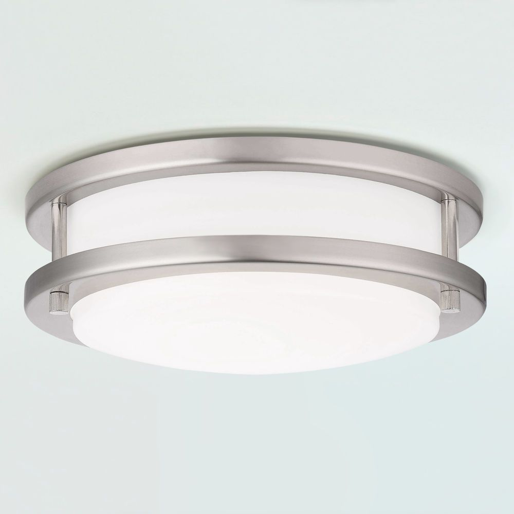 Led Flush Ceiling Light Satin Nickel 10 Inch At Destination Lighting In 2020 Flush Ceiling Lights Ceiling Lights Led Flush Ceiling Lights