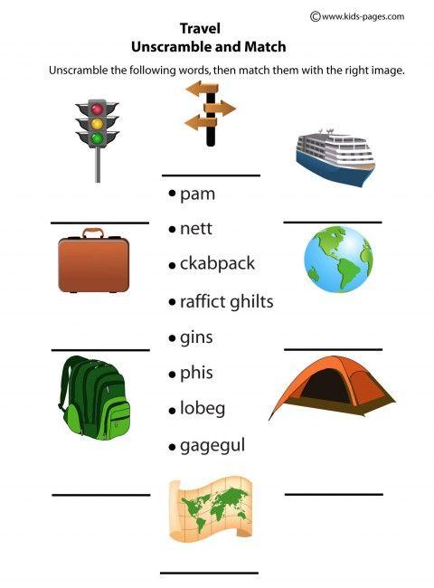 Travel Unscramble Worksheet Kindergarten Worksheets Shapes Worksheet Kindergarten Kindergarten Worksheets Printable Travel worksheets for kindergarten